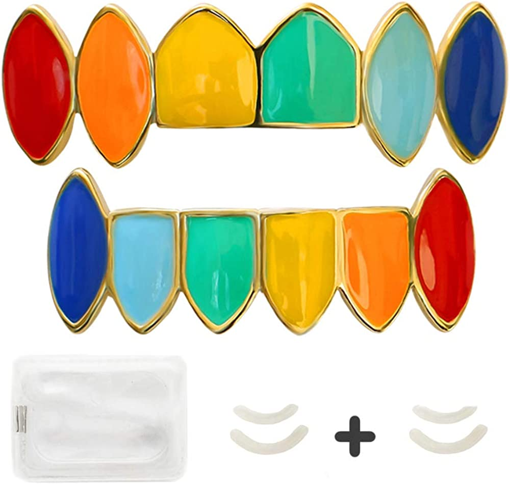 LuReen 14k Gold Rainbow Grillz Vampire Fangs 6 Teeth Top Bottom Set Grills + Extra 2 Molding Bars