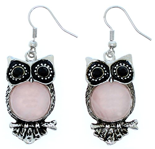 (Lova Jewelry Silver-tone Owls for Your Ears. (Rose Quartz))