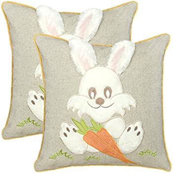 Simhomsen Happy Easter Plush Bunny Throw Pillow Case Cushion Cover,18 x 18 Inch Set of 2, Insert Not Included