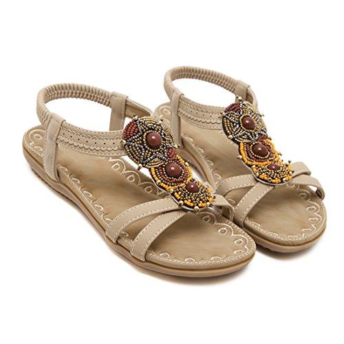 de pour Chaussures Sandales Plates D'été Perlées des Ruiren Femmes Dames Abricot Bohémiennes wqtA8dT