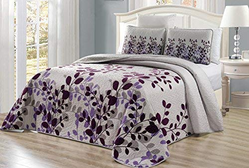 - 3-Piece Fine Printed Oversize Fresca Quilt Set Reversible Bedspread Coverlet (Double) Full Size Bed Cover (Purple, Grey, Vine)