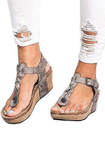 (Ru Sweet Women's Boho Braided Wedge Sandals Ankle Buckle Casual T-Strap Wedge Heel Sandal Shoes)