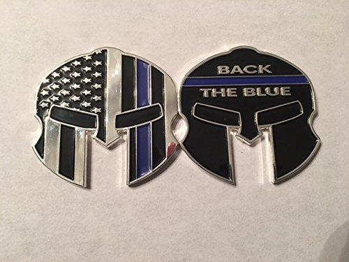 Blue Coin - Thin Blue Line Back the Blue Warrior Mask Police Challenge Coin