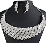Wedding Necklace by Taoqiao,Cubic Zircon Rhinestone Bridal Necklace and Earrings Set