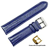 deBeer brand Teju Lizard Grain Watch Band (Silver & Gold Buckle) - Navy 20mm