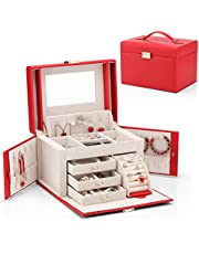 Vlando City Beauty Medium Jewelry Box, Faux Leather Jewelry Organizer Gift for Women -Red