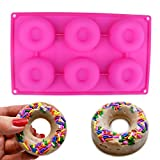 silicone mold for bakery - Delidge Premium Baking Pan for Donuts Silicone Bakery Mold Heat Resistance to Bake Circle Shaped Mini Cake Maker Pinch Test Passed (Pink/6-Cavity)