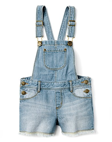 Gymboree Girls' Little Denim Cutoff Overall, Light, 8