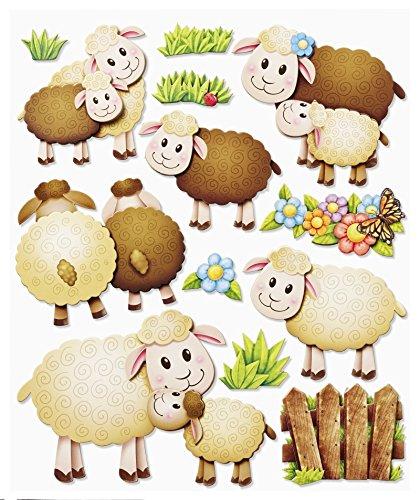 Stickerkoenig Wandtattoo 3D Sticker Wandsticker - niedliche Schafe, Tiere, Schäfchen Bauernhof #562 Kinderzimmer Deko auch für Wände, Fenster, Schränke, Türen etc auf Bogen