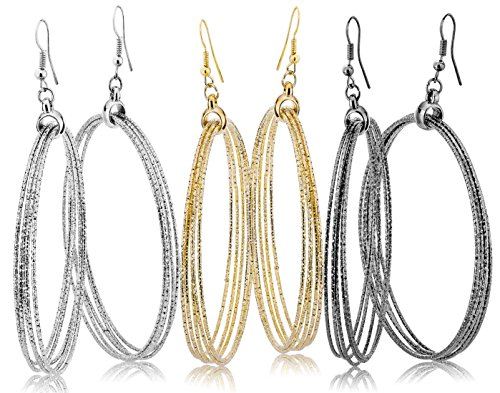 Fashion Costume Jewelry Dangle Drop Circle Hoop Earrings Set For Women Teen Silver Gold Black Tone (GL2: Extra large hoop - 3 Colors)
