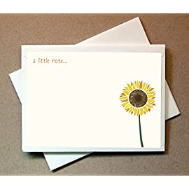 """Sunflower Note Cards (24 Non-foldover Cards and Envelopes) Sunflower Cards 4 Adorable Note Card Set (24 flat cards and envelopes) - High quality paper & envelopes. Premium 110# Classic Crest Cover Stock & Matching Blank Bright White Envelopes. 6"""" x 4.25"""" This is a flat card, not a foldover."""