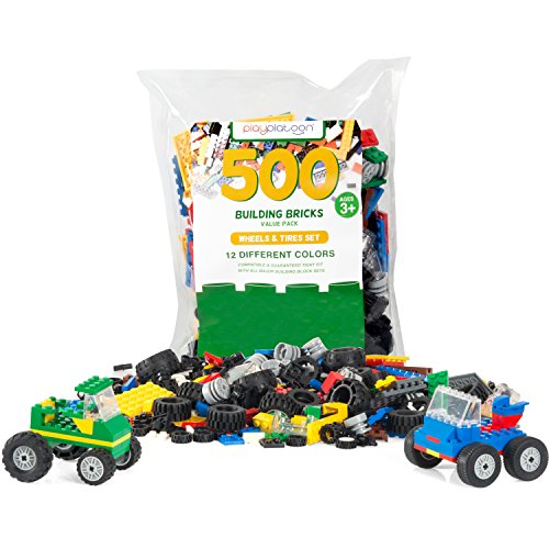 500 Piece Wheels, Tires & Axles Set - Building Brick Compatible Play Kit