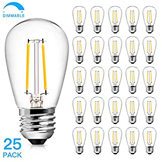 2W S14 LED Edison Light Bulbs, Dimmable E26 Replacement Bulbs for Outdoor String Light 25 Watt Equivalent Incandescent Bulbs Daylight White 5000K Waterproof Vintage Light Bulbs Indoor 25 Pack
