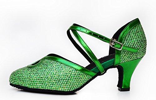 Tda Kvinners Komfort Ankelen Stropp Spenne Glitter Salsa Tango Ballroom Latin Moderne Dansesko Grønne
