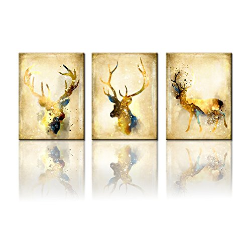 3 Pieces Elk Wall Art Print on Canvas Vintage Deer Head Painting Posters Framed and Ready to Hang (12x16inchx3) (Framed Head Deer)