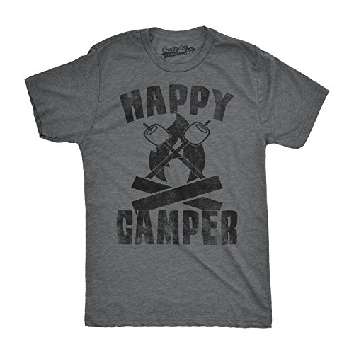 Dog Design Tee T-shirt (Mens Happy Camper Shirt Funny Camping Shirts Cool Vintage Tees Retro Design (Grey) 4XL)