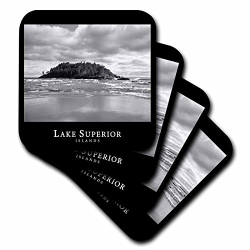 Islands Lake Superior - 3dRose cst_18439_4 Lake Superior Islands 3 Black and White Photograph of Rocky Islands in Michigan Ceramic Tile Coasters, Set of 8
