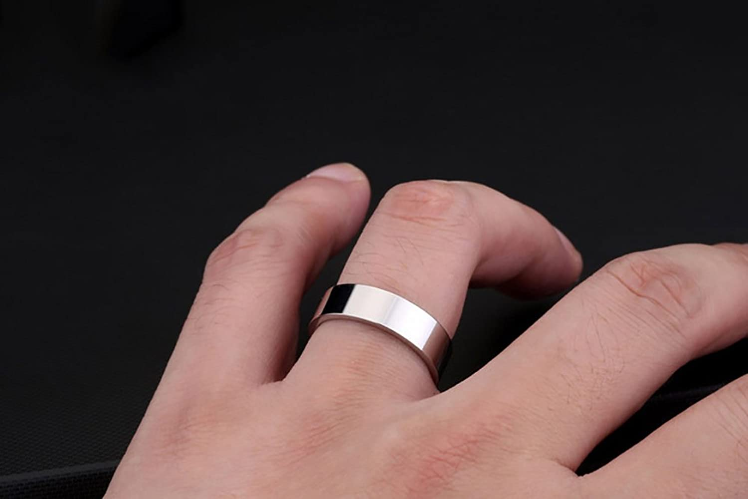 Titanium Ring for Men Width 6mm Silver Rings Simple and Fashion ...