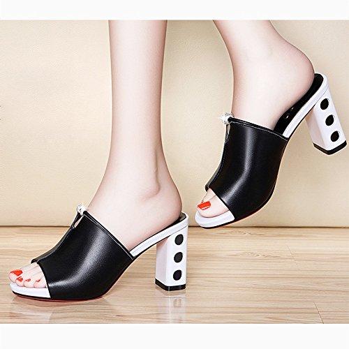 Tacón Libre Negro Fei Coreana Al Llevar Pantuflas Verano Sandalias Blanco Antidérapant Alto Versión Mujer De Salvaje Chanclas Rústico Y Aire Zapatos UqU8Tw