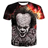 Cosfunmax Pennywise 3D T-Shirt Printed Casual Summer Short Sleeve T-Shirts Tees Sportswear Tracksuit L