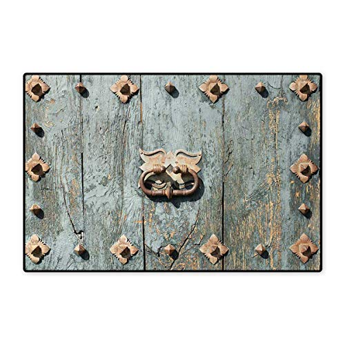 Rustic,Bath Mat,European Cathedral with Rusty Old Door Knocker Gothic Medieval Times Spanish Style,Door Mats for Inside,Turquoise 24