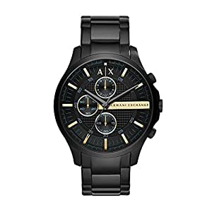 ARMANI EXCHANGE Men's Hampton Analog Quartz/Chronograph Black Watch, (AX2164)