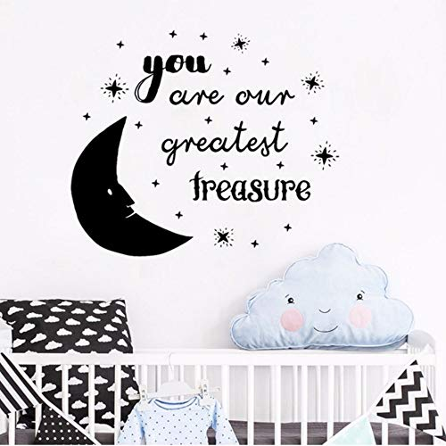 Pbldb 50X42Cm You are Our Greatest Treasure Quote Wall Decal Moon Stars Nursery Vinyl Art Stickers Wallpaper Kids Room Home -