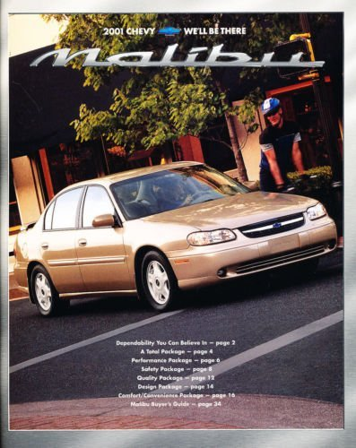 Original Dealer Brochure - 2001 Chevy Malibu 36-page Original Dealer Sales Brochure Catalog