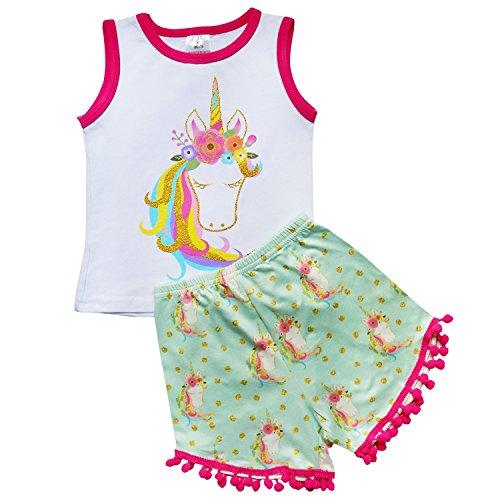 So Sydney Girls Toddler Pom Pom Novelty Summer Pool Beach Vacation Shorts Outfit (XS (2T), Mint Unicorn)