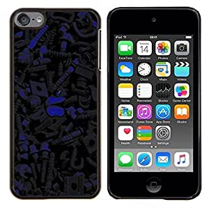 KLONGSHOP // Cubierta de piel con cierre a presión Shell trasero duro de goma Protección Caso - Patrón oscuro - Apple iPod Touch 6 6th Touch6 //
