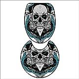 qianhehome Toilet Carpet Floor mat Artistic Embellished Evil Dead Head Skeleton Leaf Details Gothic Mexican for Grey White Blue. Non-Slip Soft Absorbent 16''x19''-D20