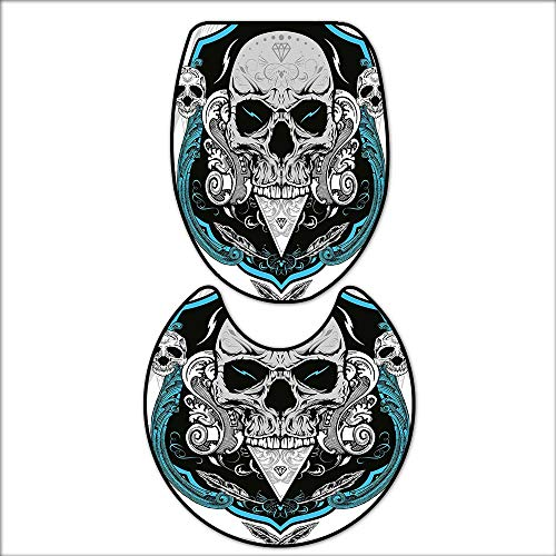 qianhehome Toilet Carpet Floor mat Artistic Embellished Evil Dead Head Skeleton Leaf Details Gothic Mexican for Grey White Blue. Non-Slip Soft Absorbent 16''x19''-D20 by qianhehome