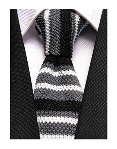 (Novelty Ties for Men Casual Colorful Woven Neck Tie Knit Polyester Formal Party New Necktie Dark Grey White Black)