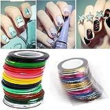 DDLBiz 43Pcs DIY Mixed Colors Rolls Striping Tape Line Nail Art Tips Decoration Sticker