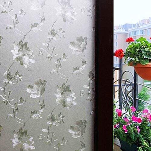 Privacy Glass Window - Hgho Silver Frosted 3d Flower Privacy Glass Window Film Sticker Bathroom Office 100x60cm - Cling Film Shower Bathroom Door Glass Mirror Window Stained Adhesive Static Privacy
