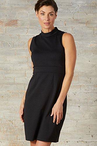 Fair Indigo Fair Trade Ponte Knit Sleeveless Mock Neck Dress