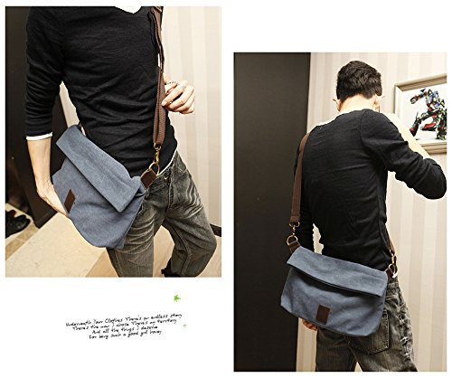 Canvas Shoulder Bag Classic Cross body Sling Bag Messenger Bag for Daily Using Etc Blue by lxctory (Image #4)