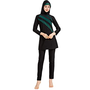 f588826cd79 Moonface Women's Swimwear,Muslim Conservative Bathing Suit with Cap Solid  Color Swimsuit Splicing Slimming (