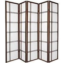 Oriental Furniture Premium Quality Low Price, 6-Feet Double Cross Folding Shoji Privacy Floor Screen, 4 Panel Walnut by Oriental Furniture