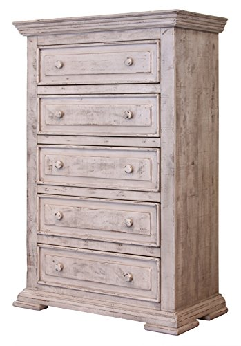 Amish Country Chest Of Drawers (Penelope White Shabby Chic Sturdy Solid Wood Chest Of Drawers - Tall Dresser With Dovetail and Full Extension Ball Bearing Glides)