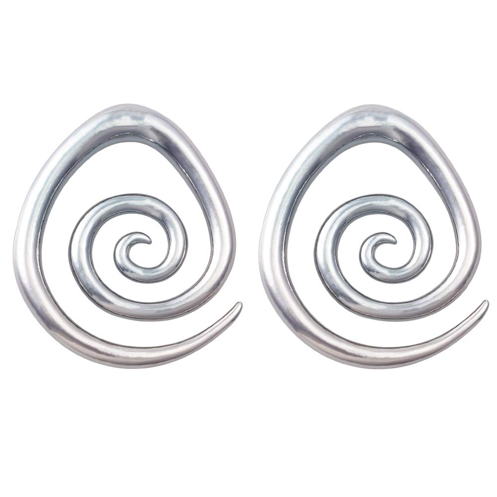 HONGTU Spiral Ear Weight Taper Indian Swirl Earring Stretcher Plug Heavy 0.04kg(0.08lb) (Silver) by HONGTU implant