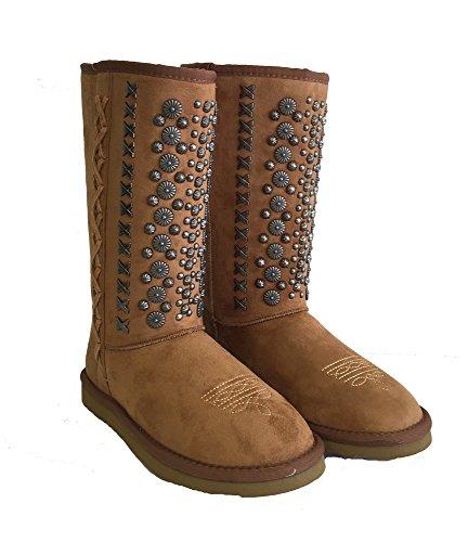 Montana West Winter Boots Antique Silver Floral Conchos Metal Stitches Brown, 8M