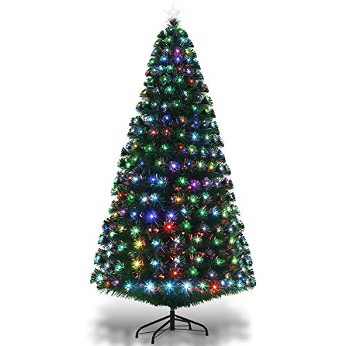 GYMAX 6FT Fiber Optic Christmas Tree, Green Artificial Xmas Tree, Multicolored Changing Lights Pine Tree with Top Star (6 FT)