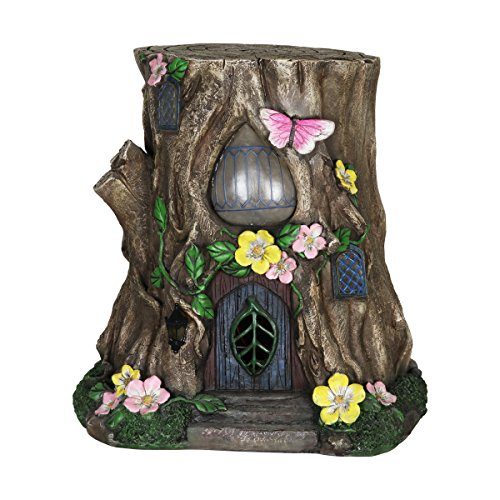 Exhart Gardening Gifts -Fairy House Tree Stump Statue - Large Garden Statues w/Solar Garden Lights, Outdoor Use, Fairy Themed Garden Décor, Weather Resistant Resin Statues