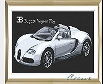 Coeus Diy Kit For Kids, Crystal Diamond Painting  Silvery Bugatti Veyron,pbn  Kit