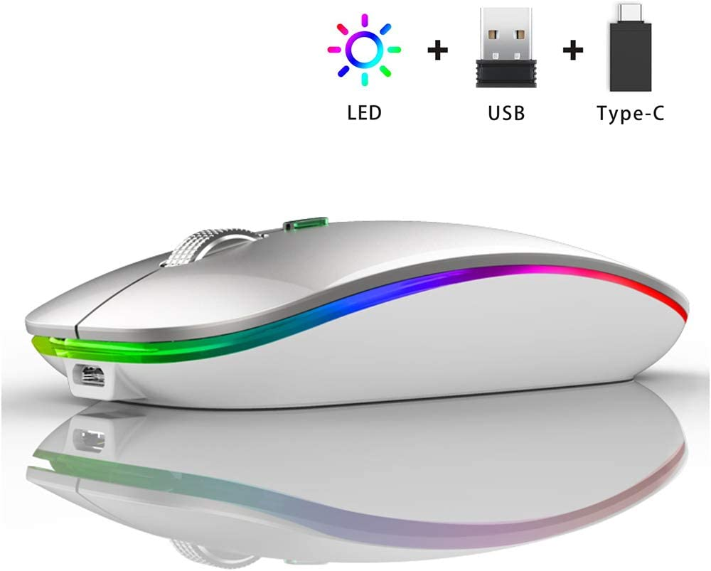 LED Wireless Mouse, Uiosmuph G12 Slim Rechargeable Wireless Silent Mouse, 2.4G Portable USB Optical Wireless Computer Mice with USB Receiver and Type C Adapter (Silver)