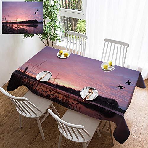 HOOMORE Simple Color Cotton Linen Tablecloth,Washable, Ducks Landing at Sunrise Decorating Restaurant - Kitchen School Coffee Shop Rectangular 102×60in ()