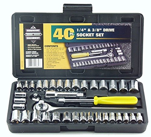 40 Piece Socket Tool (Standard SAE & Metric 40 Piece Socket Set 1/4'' 3/8