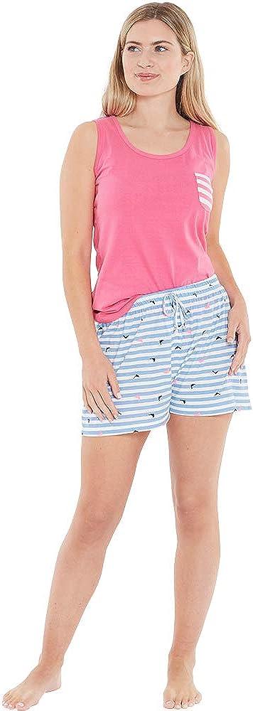 Love to Sleep Womens Jersey Pyjama Shorts Bottoms Striped Printed UK Seller