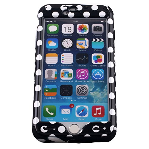For Apple iPhone 6 Plus (5.5) Black & White Polka Dots Snap-on on Black & White Marble Skin KoolKase Rocker 2 in 1 Hybrid Case Cover With 2 Screen Protector Films